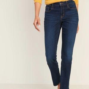 NEW! Mid Rise Dark Wash Power Slim Straight Jeans